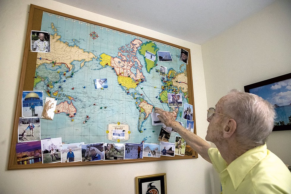 Dick Boera's map of world travels during and after World War II - JAMES BUCK