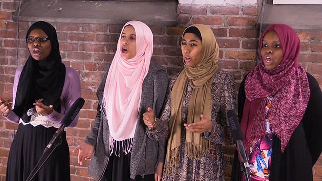 Left to right: Hawa Adam, Lena Ginawi, Kiran Waqar and Balkisa Abdikadir