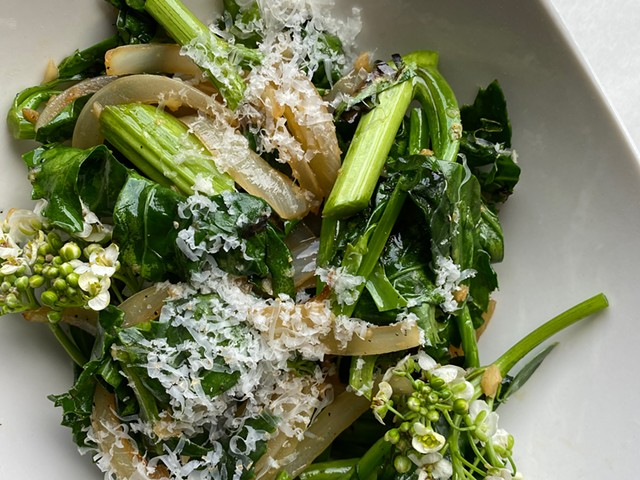 Grilled Sea Kale With Caramelized Onions, Garlic and Jasper Hill Alpha Tolman Cheese - COURTESY ELIZABETH CHADWICK