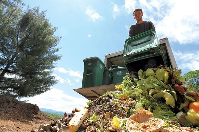 Matt Olsen of Vermont Compost unloading food scraps - KEVIN MCCALLUM ©️ SEVEN DAYS