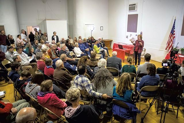 Ellie Martin speaking at the Essex Center Grange Hall - JAMES BUCK