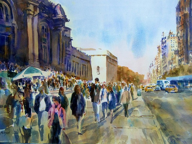 """""""Steps of the Met"""" by Mary Ann Heinzen from """"Main Street"""" exhibition - COURTESY OF BRYAN MEMORIAL GALLERY"""