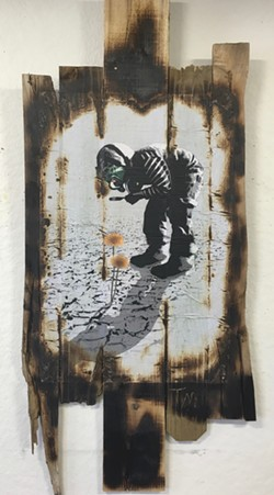 "From the series ""Antiutopia"" by Tim Morris, wheat paste on reclaimed wood - TIM MORRIS"