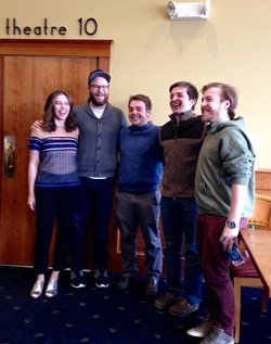 From left: Lauren Miller, Seth Rogen and Ryan, John and Griffen Fox - RICK KISONAK