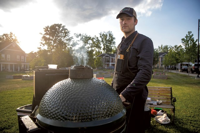 Henry Long and his Big Green Egg grill at a Good Grocery pop-up at Burlington's Bayberry Commons - JAMES BUCK