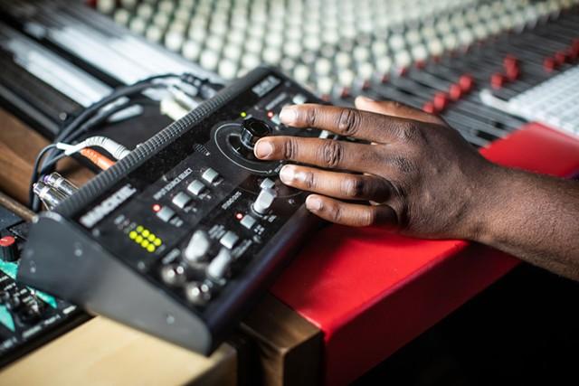 Urian Hackney at his Burlington recording studio, the Box - LUKE AWTRY
