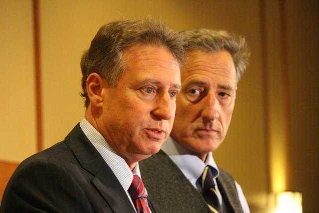 Federal receiver Michael Goldberg and Gov. Peter Shumlin Wednesday at Jay Peak - PAUL HEINTZ