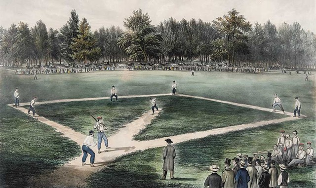 """""""American National Game of Baseball"""" by Currier & Ives - COURTESY OF SHELBURNE MUSEUM/JOSLYN MUSEUM"""