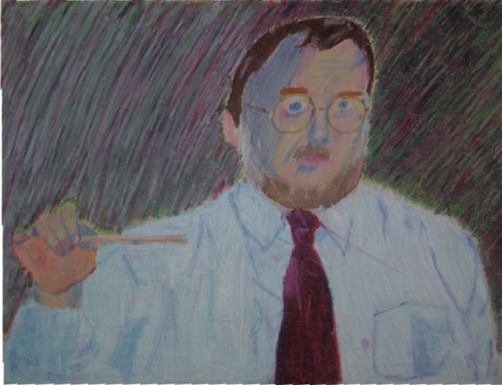 Chalk portrait of Mr. Irwin from the late 1990s by student Aaron Todd - COURTESY PHOTO