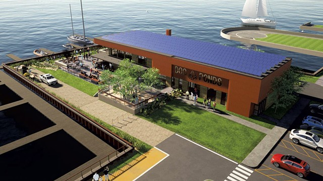 An architect's rendering of a new restaurant proposed for Lake Champlain Transportation's ferry dock in Burlington - COURTESY OF WIEMANN LAMPHERE ARCHITECTS