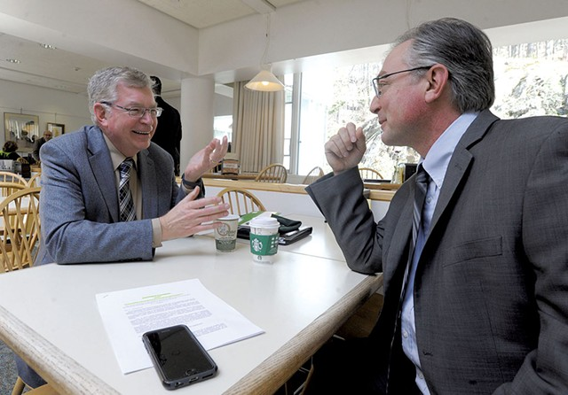 Jim Harrison, left, speaking with Senate Majority Leader Philip Baruth at the Statehouse - JEB WALLACE-BRODEUR