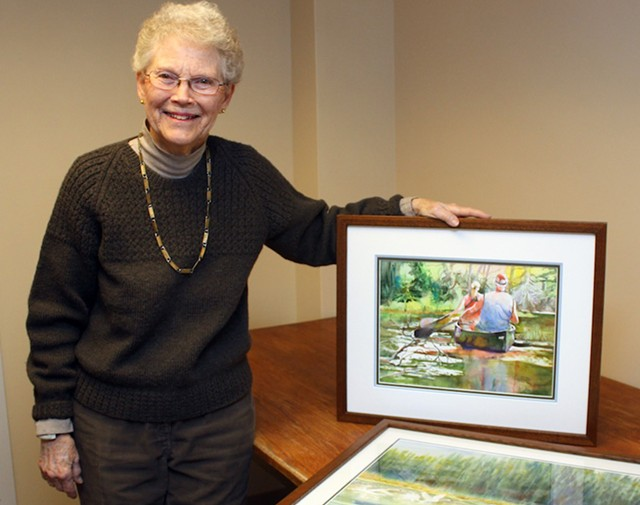 Elise Braun, with two of the 25 artworks donated to Gifford Medical Center - COURTESY OF GIFFORDMED.ORG