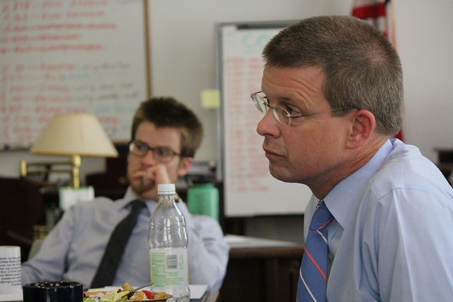 House Speaker Shap Smith addresses reporters last Friday in his Statehouse office - PAUL HEINTZ