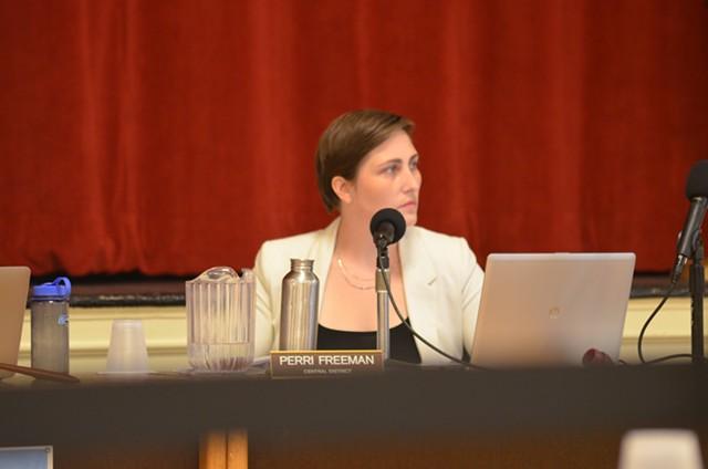 Councilor Perri Freeman (P-Central District) at Monday's meeting - SASHA GOLDSTEIN ©️ SEVEN DAYS