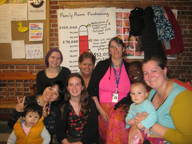 Back row, from left: Grace Ahmed, Linda Alderman, Rosie Senna, Adhieu Thiong; front row, from left: Coco Wu (with child), Sophia Donforth, Katy Wallace (with child) - KYMELYA SARI