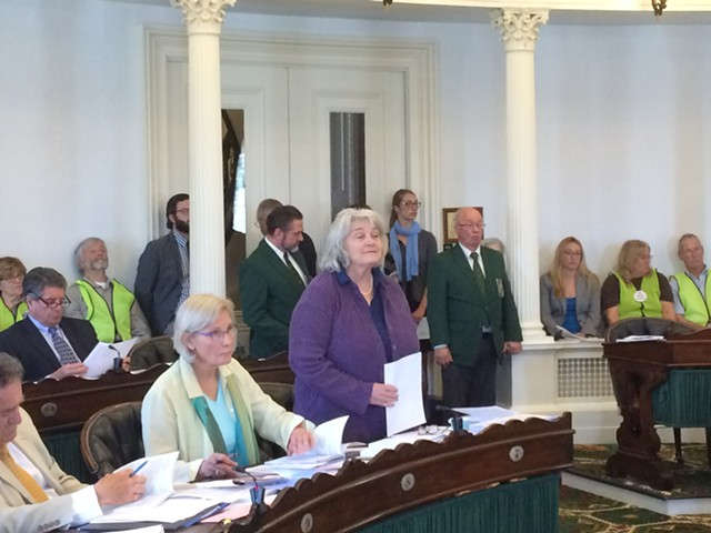 Sen. Ginny Lyons briefs the Senate on a bill with provisions authorizing consideration of the purchase of hydropower dams on the Connecticut and Deerfield rivers. - NANCY REMSEN
