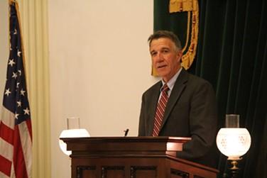 Lt. Gov. Phil Scott speaks Friday night at the Statehouse. - PAUL HEINTZ