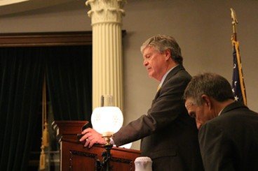 Senate President Pro Tem John Campbell speaks Friday night at the Statehouse. - PAUL HEINTZ