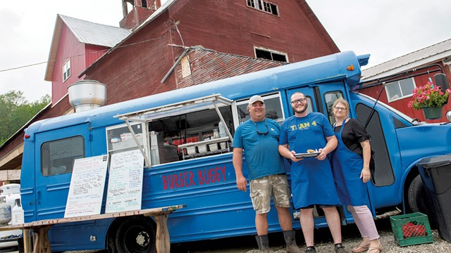 From left: Brent, Alex and Diana Newton in front of the Burger Buggy - CALEB KENNA