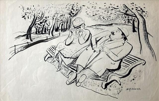 """Untitled (Couple in Park)"" by Adolf Dehn - COURTESY OF BUNDY MODERN"