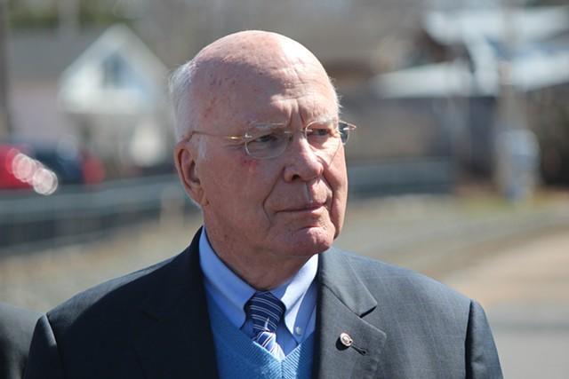 Sen. Patrick Leahy (I-Vt.) last month in Essex Junction - FILE: PAUL HEINTZ