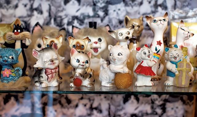 Cat figurines at Catland Vintage - LUKE AWTRY