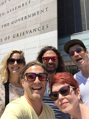 A few of the Seven Days crew in front of the Newseum at the Washingon, D.C., AAN convention in 2017 - DON EGGERT ©️ SEVEN DAYS