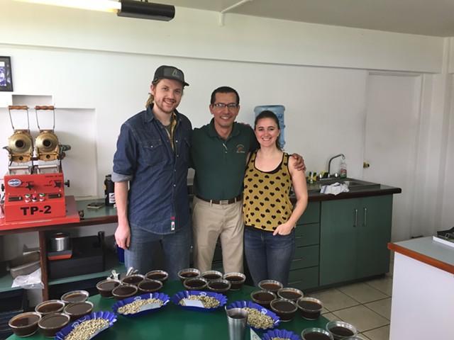 Tyler Van Liew and Magda Van Dusen with Sergio at La Minita Estate in Costa Rica - COURTESY OF BRIO COFFEEWORKS