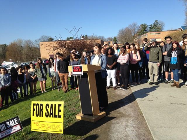 Irma Cicak, Burlington High School senior, speaks during the protest. - MOLLY WALSH