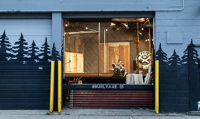 A view inside the cages at Burly Axe Throwing - LUKE AWTRY
