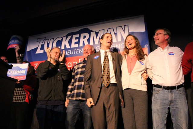 David Zuckerman (center) at his December lieutenant gubernatorial campaign kickoff. - SEVEN DAYS/FILE