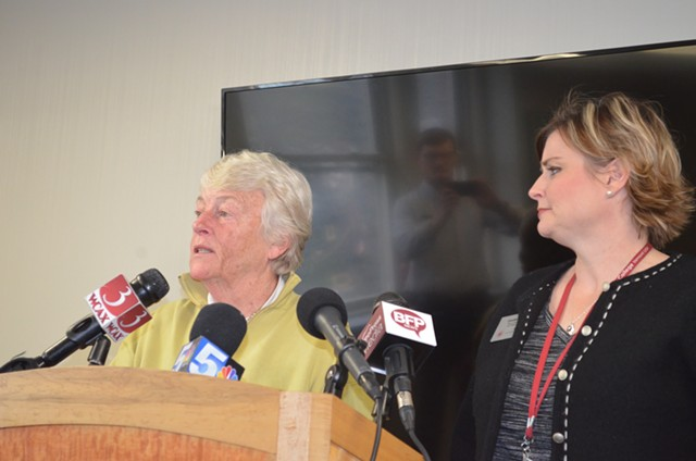 Carol Moore, interim president of Burlington College, speaks to reporters Monday as Coralee Holm, dean of operations and advancement, looks on. - ALICIA FREESE