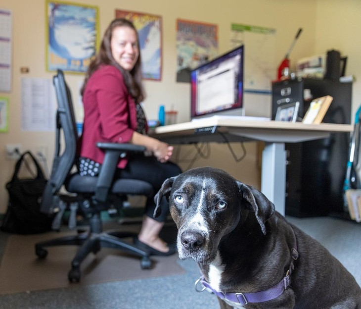 Jamie Smith, GMT's director of marketing and planning, and her dog - JAMES BUCK
