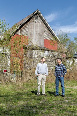 Richmond selectboard chair David Sander and Chris Granda at the site of the old Creamery buildings - OLIVER PARINI