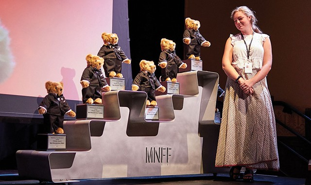 Vermont Teddy Bears on display for the annual VTeddy Awards at Middlebury New Filmmakers Festival in 2019 - COURTESY OF MIDDLEBURY NEW FILMMAKERS FESTIVAL