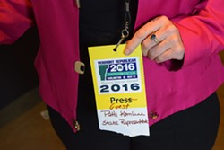 Rep. Patti Komline (R-Dorset) displays her name tag — minus the Lisman and Trump ads. - TERRI HALLENBECK