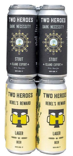 Cans of Dark Necessity stout and Rebel's Reward lager - COURTESY OF TWO HEROES BREWING