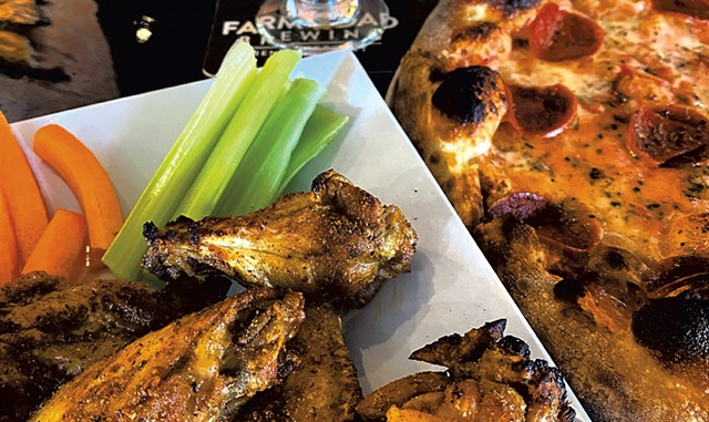Wings, pizza and beer - COURTESY OF FARM ROAD BREWING