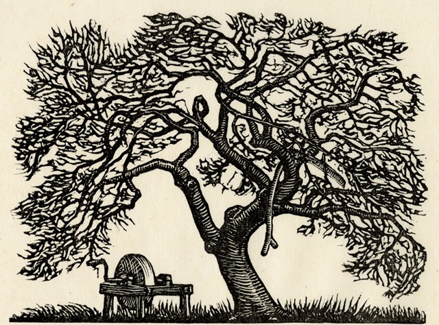"""""""Apple Tree and Grindstone"""" by J.J. Lankes - COURTESY OF DARTMOUTH COLLEGE LIBRARY SPECIAL COLLECTIONS"""