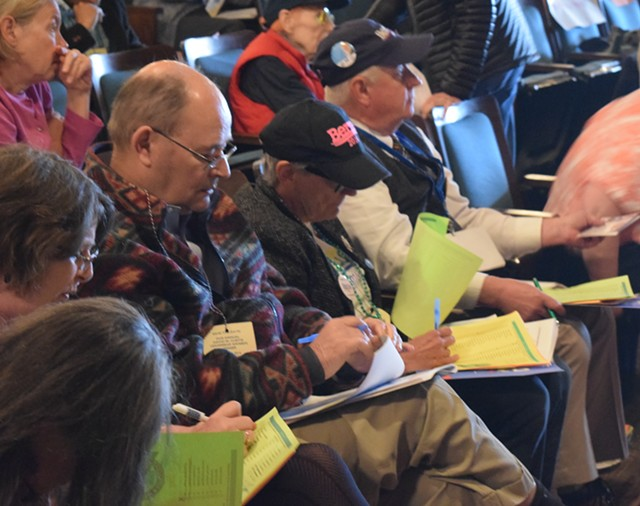 Democratic state delegates cast their ballots for delegates to the national convention. - TERRI HALLENBECK