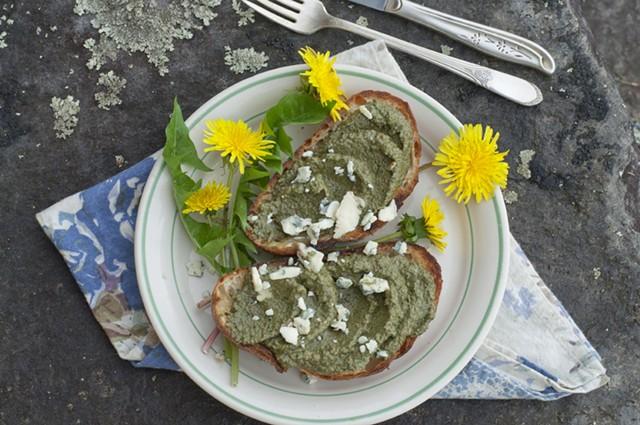 Easiest pesto: dandelions, nuts, oil, cheese - HANNAH PALMER EGAN