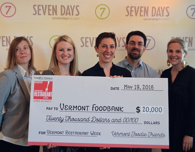 Photo, from left to right: Katie Grauer of Vermont Community Foundation, Kylie Webster of Vermont Federal Credit Union, Nicole Whalen of Vermont Foodbank, Todd Taylor of City Market and Corey Grenier of Seven Days. - KRISTEN HUTTER