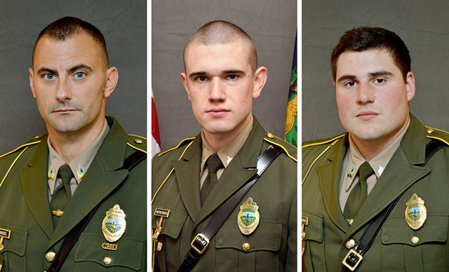 From left: David Pfindel, Raymond Witkowski and Shawn Sommers - VERMONT STATE POLICE
