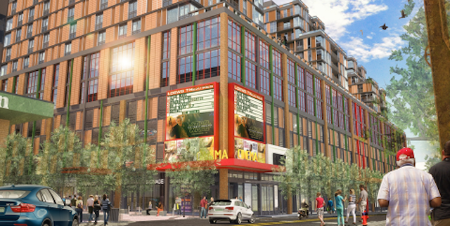 The latest design for redevelopment of the Burlington Town Center shows new housing and a movie theater on Cherry Street, facing west. - COURTESY OF DEVONWOOD