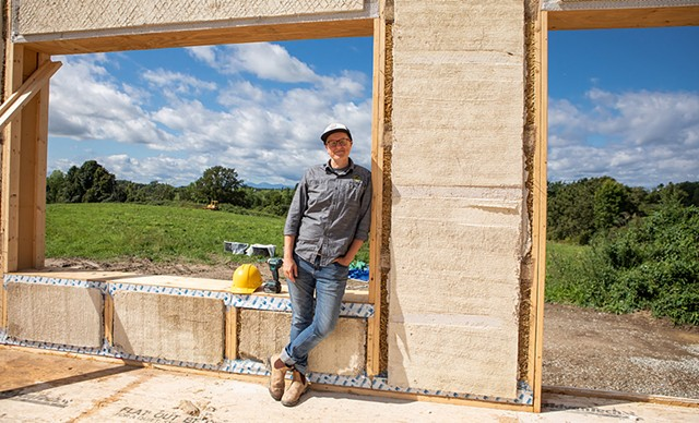 New Frameworks cofounder Ace McArleton on the site of a new build at Bread & Butter Farm in Shelburne - LUKE AWTRY