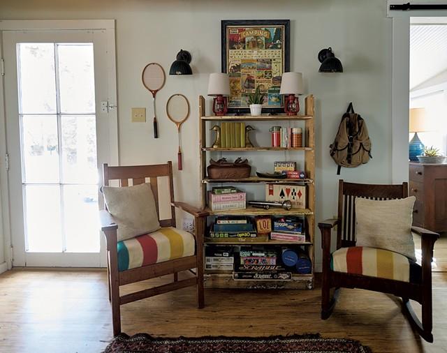 Game shelf at Camp Hickory House - BEAR CIERI