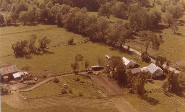 Aerial view of the Hinesburg farm on June 14, 1979, minutes before the plane crashed in to the trees below - COURTESY OF PHIL GIANELLI