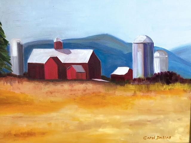 """Carol Dallas, """"Vermont Barn With Silos"""""""