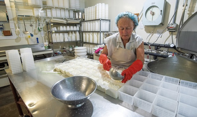 Laini Fondiller of Lazy Lady Farm making goat cheese - JEB WALLACE-BRODEUR