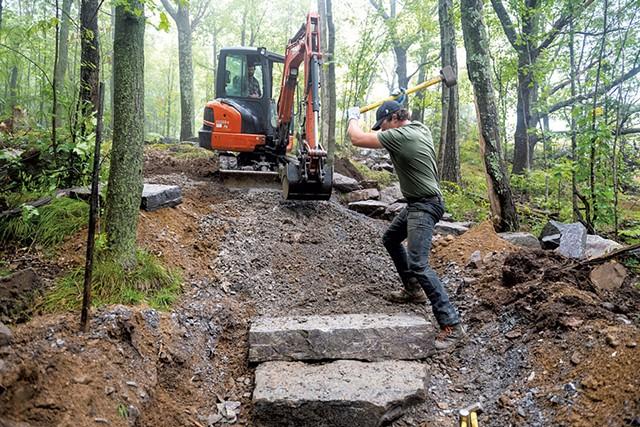 Gordon Adams (left) and Pete Hiser building a trail - JAY ERICSON